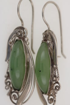 Filigree antique silver pendant earrings, handmade, 925 with jade stones