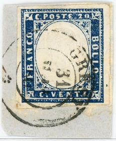 Sardinia, 1860 - 20 Cents with Double Effigy - Cancelled, Gresy Pt. 13 - Sassone No. 15Ca