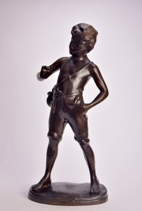 Large statue of a Boy, after Aug. Moreau, 20th century