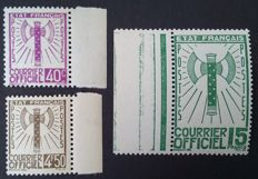 France 1943 – Service, 3 stamps of the Francisque series, signed Calves – Yvert no. 3, 11 and 14.