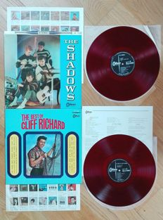 """The Shadows, s/t 1st album and The best of Cliff Richard, '60 rare First  """"Toshiba"""" Japan pressings on Red wax"""
