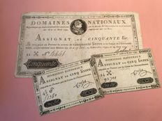 France - 50 pounds Assignats with royals, and 2 x 5 pounds (French revolution) - Pick A34 and A42 (2)