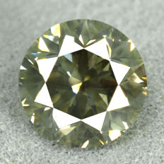 Diamond - 1.45 ct, Natural Fancy Dark Yellowish Green, Si2