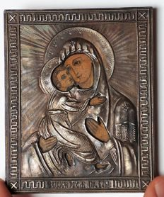 Miniature Russian  Orthodox Icon in Silver Frame  -Vladimir Icon of the Mother of God   - 84 silver fineness