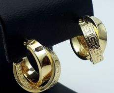14 Ct Gold Earrings With Greek Patterns