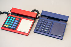 Two BeoCom telephones, BeoCom 1000 red colour and BeoCom 600 in blue colour