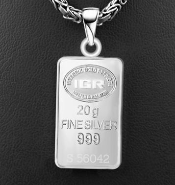 20 g Fine Silver Bullion Pendant + 925 King's ( Byzantien) Chain 60 cm *** NO RESERVE PRICES  ***