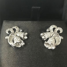 Platinum Art Deco Earrings with diamonds, ca. 0.48 ct in total
