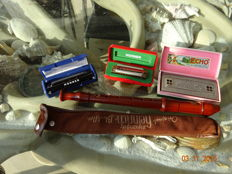 Very nice historical Alexander Heinrich recorder & 3 Hohner harmonicas in original packaging