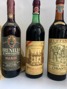 1966 Chianti Ruffino x 1 bottle - 1979 Chianti Fattoria la Casaccia x 1 bottle -  1988 Brunello di Montalcino Nardi x 1 bottle / 3 bottles in total