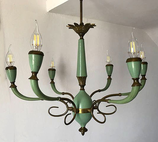 Stilnovo - Brass and green lacquered metal 6-light chandelier, brand Arredoluce - Italy - 1950s