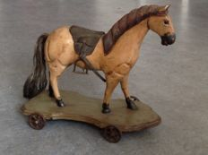 Decorative wooden horse on wheels - 1st half of the 20th century - the Netherlands