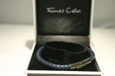 Designer Bracelet by Thomas Calvi a Braided Leather Bracelet - Length 22cm x 5mm diameter
