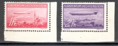 Liechtenstein 1934/1936 - airmail stamps and Zeppelin with edges/corner edges - Michel 143/147 and 149/150