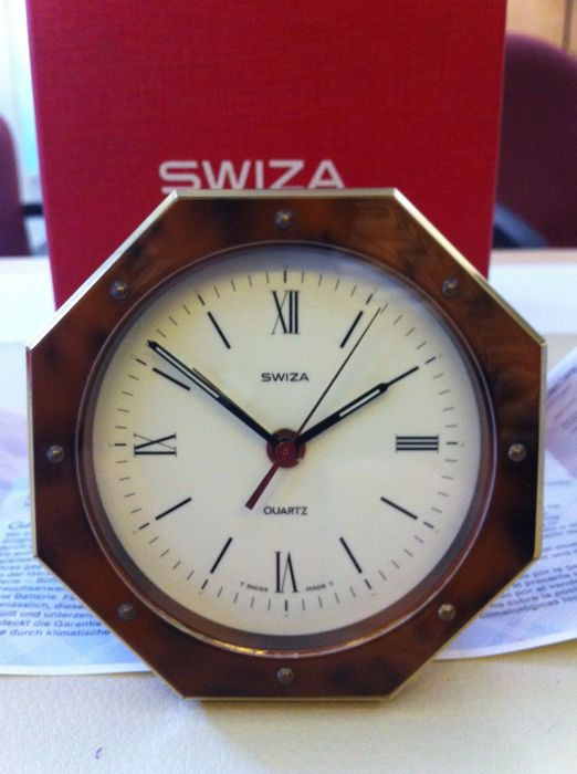 Swiss table alarm clock in bronze - 1970s