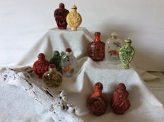 Collection of ten snuff bottles from China