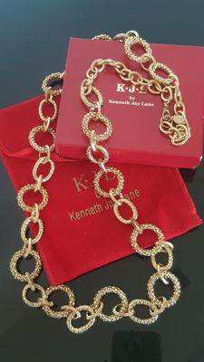 Beautiful Signed vintage Kenneth Jay Lane necklace 92 cm/36 inch from 1990's.