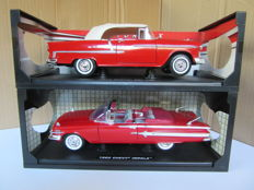 Motormax - Scale 1/18 - Chevrolet Chevy Bel Air 1955 and Chevy Impala 1960 - Red