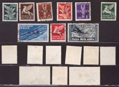 Kingdom of Italy, 1944 - Social Republic of Italy, GNR Verona airmail complete series of 9 stamps - Sass. No.  S.1521