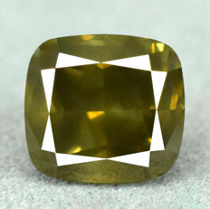 Diamond - 2.06 ct, Si1 – NO RESERVE PRICE – Natural Fancy Dark Yellowish Green