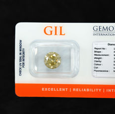 Diamond – 3.51 ct, Si2 – Natural Fancy Intense Greenish Yellow – VG/VG/VG