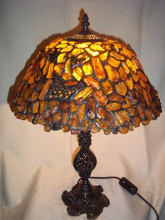 Handmade Amber lamp , incl. certificate, 45 cm height, 3000 gr.