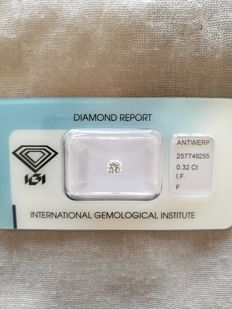 0.32 ct diamond, cornered square brilliant cut, IF, colour F.