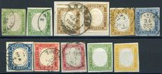 Sardinia, 1855-1863 - Lot of 11 Stamps