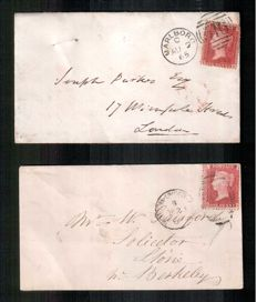 Great Britain Queen Victoria 1858/1879 - 1d Red Stanley Gibbons 43 on covers.