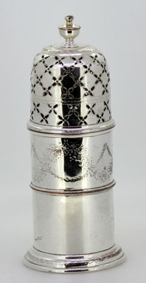 Antique Silver Plate Salt / Pepper Shaker With Decorative Engravings, Circa.1930's