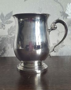 Antique English silver plated pitcher with handle, marked Walker & Hall - England, 1900s