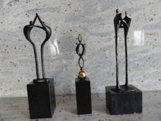 Corry Ammerlaan, lot of 3 bronze sculptures on large marble pedestals