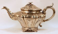 Antique Silver Plate Tea Pot, 19th Century