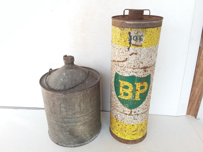 Old BP and Shell oil cans - Belgium - 1965