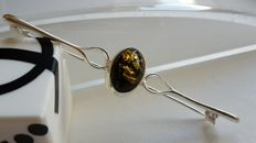 Elegant brooche - colour green - Natural Baltic amber - Silver 925 - no pressed - UV test