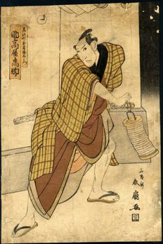 Woodblock print by Katsukawa Shunsen (Shunkō II, 1762- around 1830) – 'Actor Suketakaya Takasuke as Chuemon' – Japan – 1805