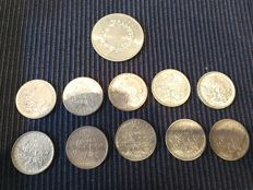 France – Batch of 13 coins (5, 10, and 50 francs) 1961/1977 – silver