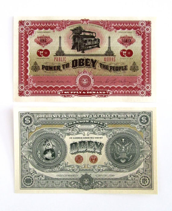 Shepard Fairey (OBEY) - Two Sides of Capitalism Currency Note
