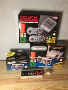 Super Nintendo Classic Mini Snes + Nintendo Classic Mini Nes + 1 Original Controller Mini Nes + 1 Wireless controller