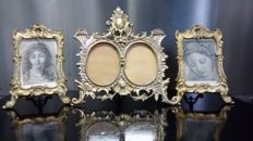 3 Beautiful large gilt bronze or brass photo frames with glass in Baroque style