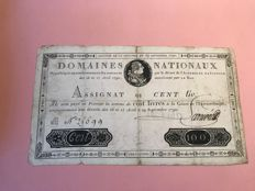 France - Assignât with Louis XVI's head - 100 pounds, from 1790 - Pick A39