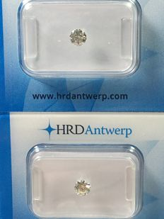 Pair of brilliant-cut diamonds totalling 0.62 ct. TW K VVS2-VS1 with HRD certificate