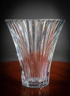 Baccarat-France. Vase in white crystal in flared shape and fluted sides, 20th century