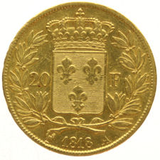 France - 20 francs 1818A - Louis XVIII - gold