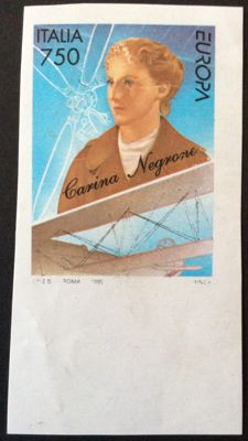"Republic of Italy, 1996 - Famous Women ""Caterina Negroni"", page edge. Imperforate variety."