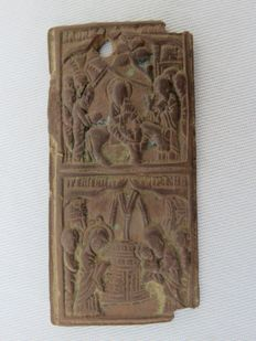 Middle Ages - Bronze icon with baptism and flight of Christ - 5.7 cm x 2.8 cm