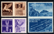 Italy, Kingdom, 1942 - War propaganda, non-issued, complete series, 3 values - Sassone No.  12A/12C