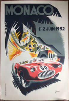 Grand Prix Automobile of Monaco 1952  - Poster 66 x 100 cm - printed in 1991