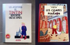 Tintin 1 + 4 - Tintin au Pays des Soviets Luxe + Les Cigares du Pharaon - Luxe hc + hc - 2x eerste druk in kleur (1955-2017)