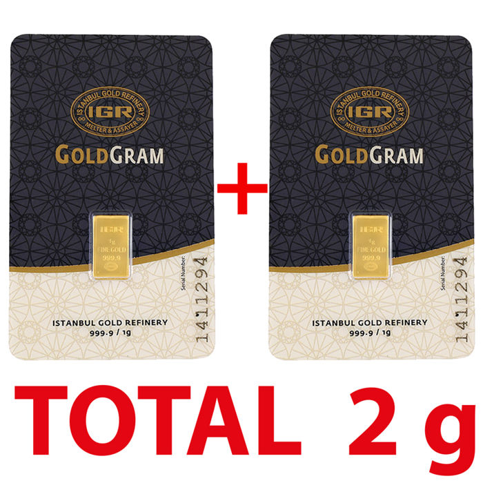 1+1=2g, 2 pieces of 1g sealed 24 Ct Fine Gold Bars, *** NO RESERVE PRICE  ***